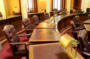 Seats and desks on the floor of the Assembly Chamber after hours...
