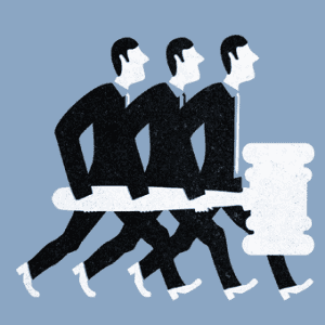 Graphic of people carrying a gavel