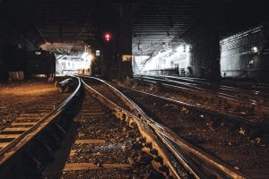 Railroad Tracks in Hudson River Tunnel