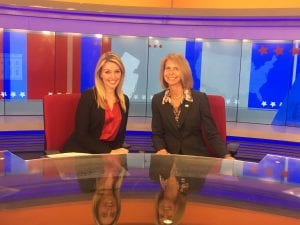 News 12's Katie Kyros and Michele Siekerka on the News 12 set