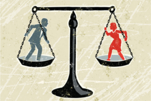 Drawing of man and woman on a balance scale