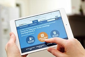 Photo of Gov.com website used to sign up for insurance under the Affordable Care Act