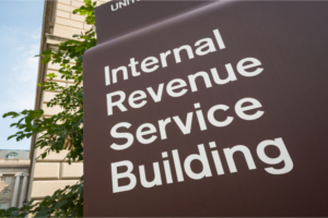 Sign for the Internal Revenue Service Building