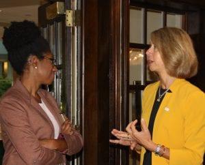 Secretary of Higher Education Dr. Zakiya Smith Ellis (left) chats with NJBIA's Michele Siekerka