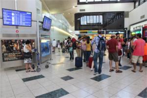 Crowded airport hub at Liberty International Airport