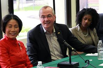 MCCC President Dr. Jianping Wang, New Jersey Gov. Phil Murphy, and NJ Secretary of Higher Education Zakiya Smith Ellis during a roundtable discussion on free community college tuition at MCCC in April.