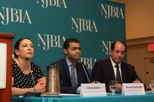 NJBIA's Chrissy Buteas introduces Health Commissioner Dr. Shereef Elnahal (center) and Senator Joe Vitale at the Nov. 7 Healthcare Town Hall