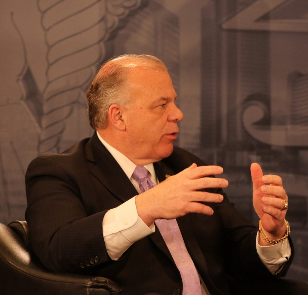 Senate President Steve Sweeney making a point during a taping of On The Record at NJBIA's Public Policy Forum