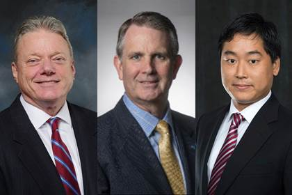 head shots of Joseph Taylor, former chairman and chief executive officer of Panasonic North America;Christopher Maher, chairman, president and chief executive officer of OceanFirst Bank and Monmouth University trustee; and Ryotaro Tashiro,