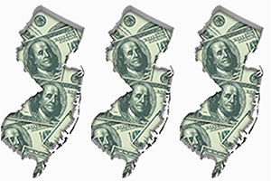 Three silhouettes of New Jersey filled with images of $100 bills