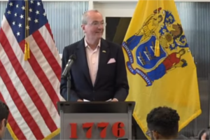 Gov. Phil Murphy delivers remarks on tax incentives at a press conference n Cherry Hill.