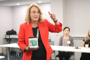 Anne Thornton, founder and president of MSI Plumbing and Remodeling, provides some plumbing maintenance tips at the Women Business Leaders Network meeting