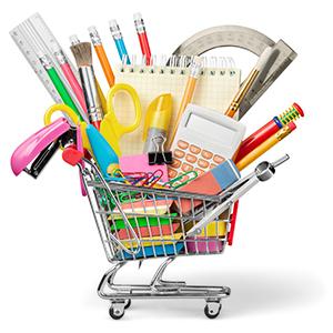 school supplies in cart image