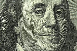 image of Ben Franklin's face from the $100 bill