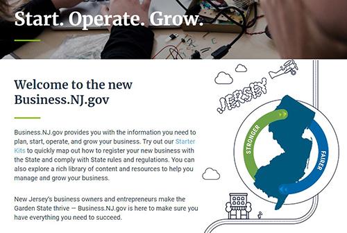 screenshot of Business.NJ.gov website