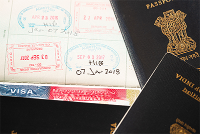 Image of H1-B stamp on foreign passport