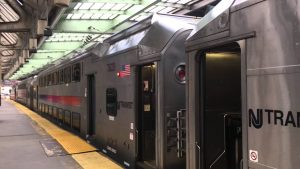 NJ TRANSIT train at the platform with doors open