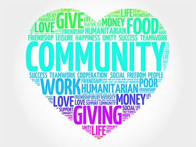 word cloud about community giving