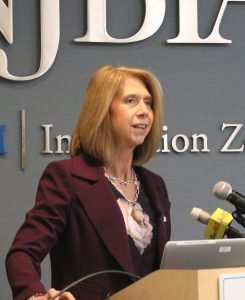 NJBIA President and CEO Michele Siekerka presents the survey results at this morning's press conference