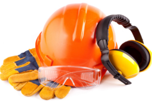 Hard hat, goggles, gloves and ear protectors