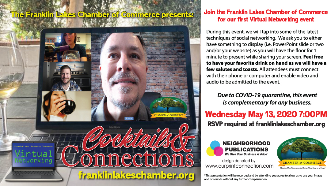 Cocktails & Connections with The Franklin Lakes Chamber (Virtual Event)