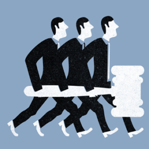Drawing of three men carrying a large gavel