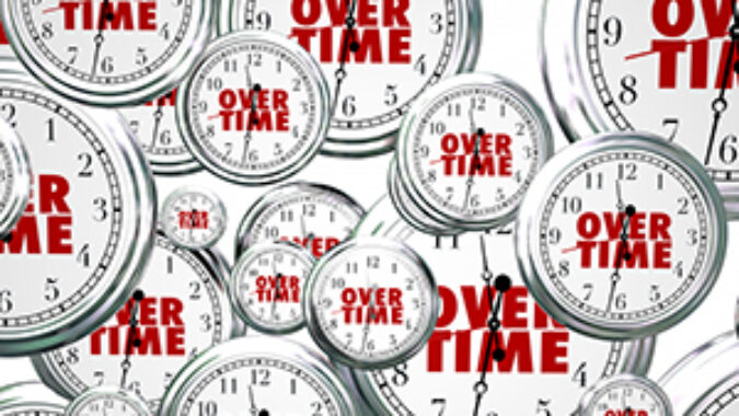 Clock images with words overtime on them