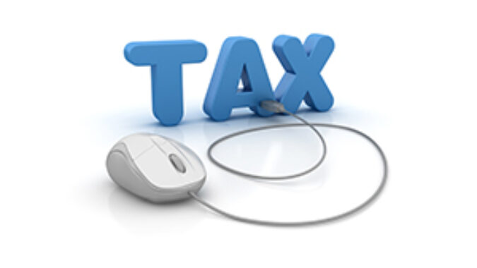 Rendering of the word Tax 3D Word and Computer Mouse