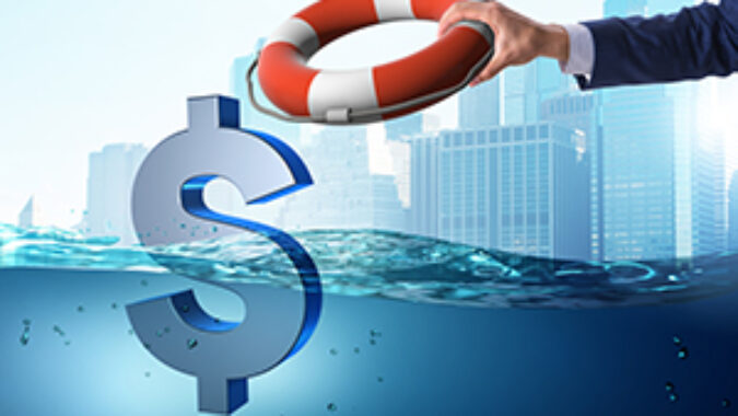 image of life preserver being thrown to a drowning dollar sign