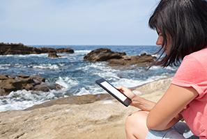 Woman reading on beach image