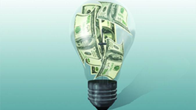 Hundred dollar bills inside a light bulb