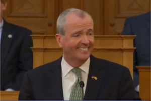 Gov. Phil Murphy delivering his FY 2020 budget address in the Assembly chambers.