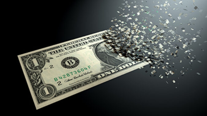 image of dollar that is dematerialzed at the end