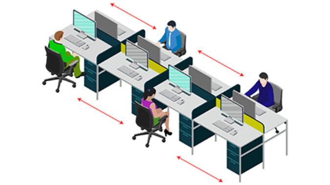 image of social distancing in office