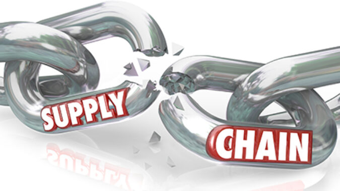 broken chain with the words supply chain