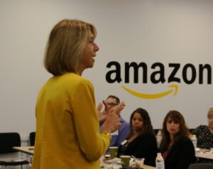 Michele Siekerka addressing employers at Amazon fulfillment center