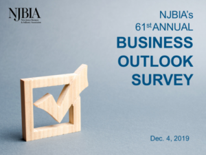 Cover graphic of a wooden looking box with a check mark in it and headline announcing the 61st annual Business Outlook Survey