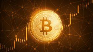 Golden bitcoin symbol.