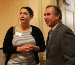 NJBIA Chief Government Affairs Officer Chrissy Buteas welcomes Assembly Speaker Craig Coughlin to Meet the Decision Makers