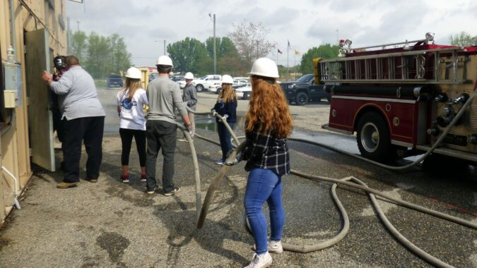 Cape May Tech students at Cape May County Fire Training Academy, which was named a Business Partner of the Year by Cape May County Technical School District.