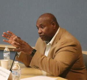 Assemblyman Herb Conaway speaking at NJBIA's Health Affairs Policy Committee meeting,