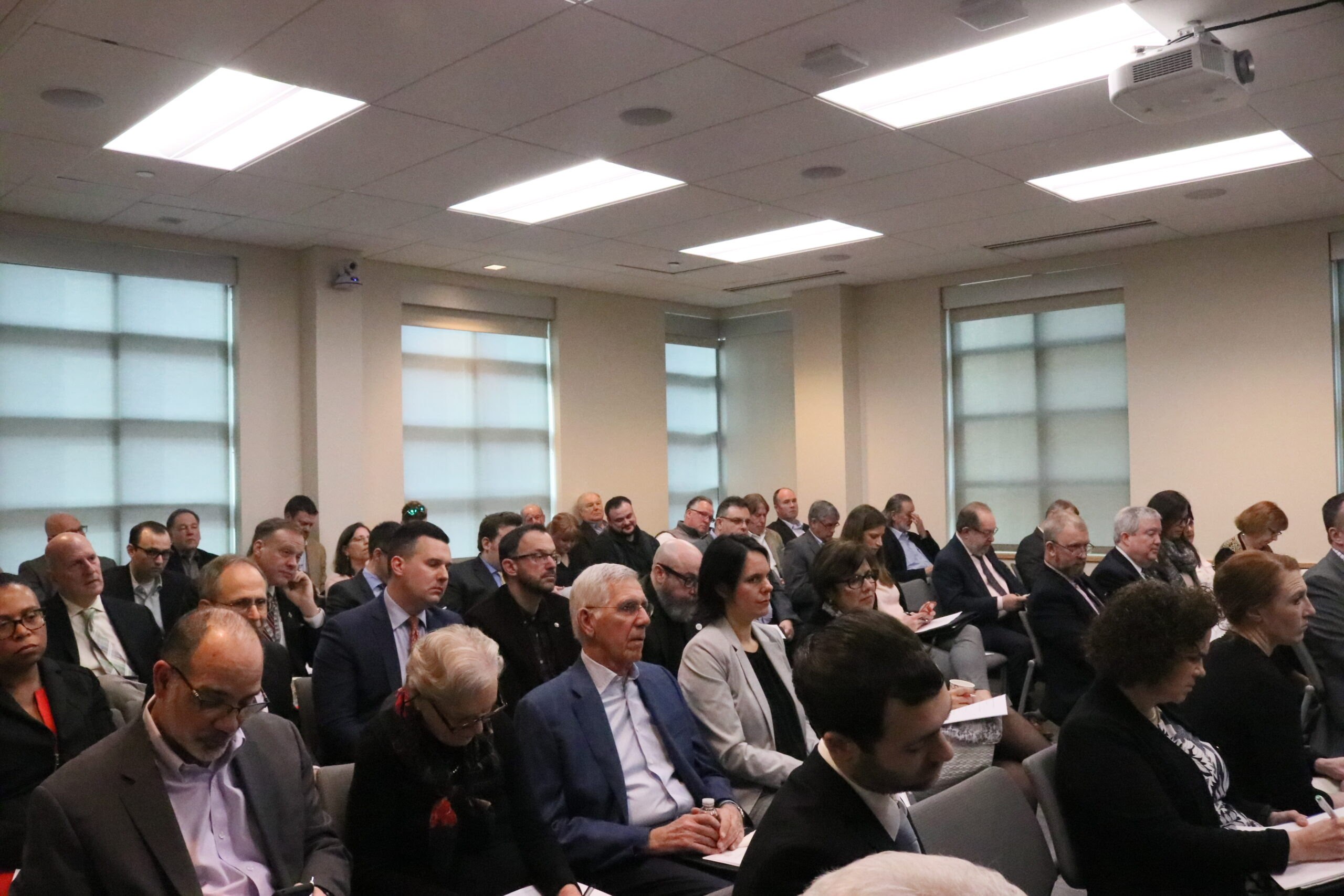 crowd shot of full conference room at NJBIA headquaters