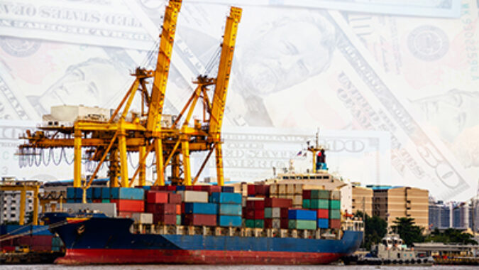 shipping freight image with dollars in background