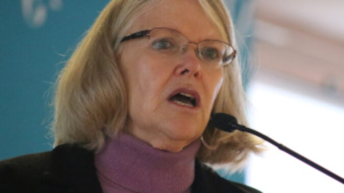 Closeup of Jane Oates, president of WorkNation, speaking at the Future of Work event