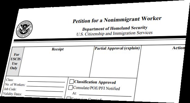 screenshot of an 1-129 form for H-1B visa
