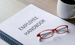 Employee handbook on a table