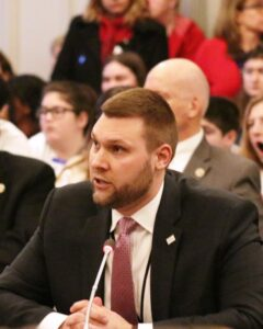 Andrew Musick, NJBIA vice president for Government Affairs, testifies before the Assembly Budget Committee on March 27
