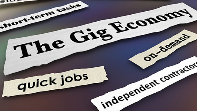 words saying independent contractor and gig economy