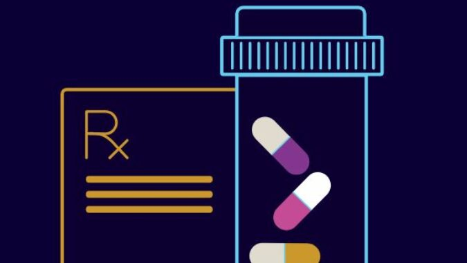 drawing of pill bottle and prescription