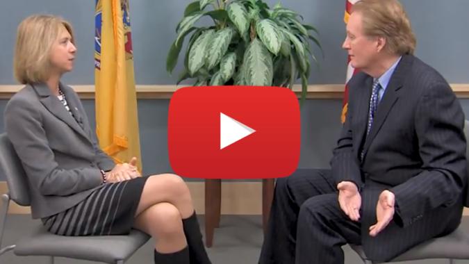 Larry Mendte interviewing Michele Siekerka